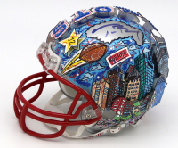 Tom Brady Signed New England Patriots Mini Helmet Painted by Charles Fazzino (TriStar Hologram)