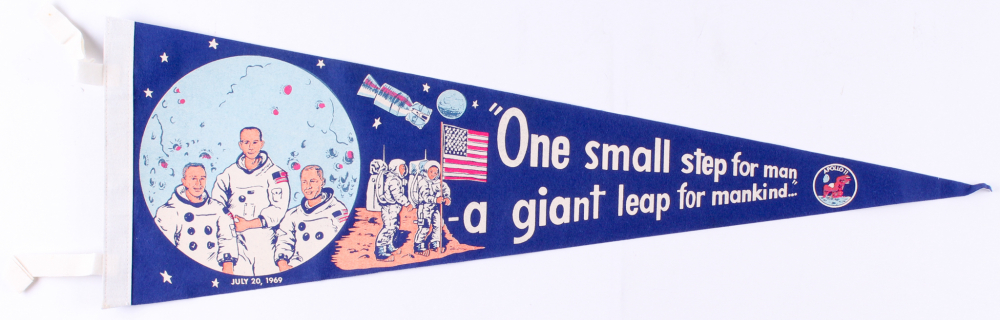 1969 Vintage Original Apollo 11 Pennant with Neil Armstrong, Buzz Aldrin & Michael Collins at PristineAuction.com