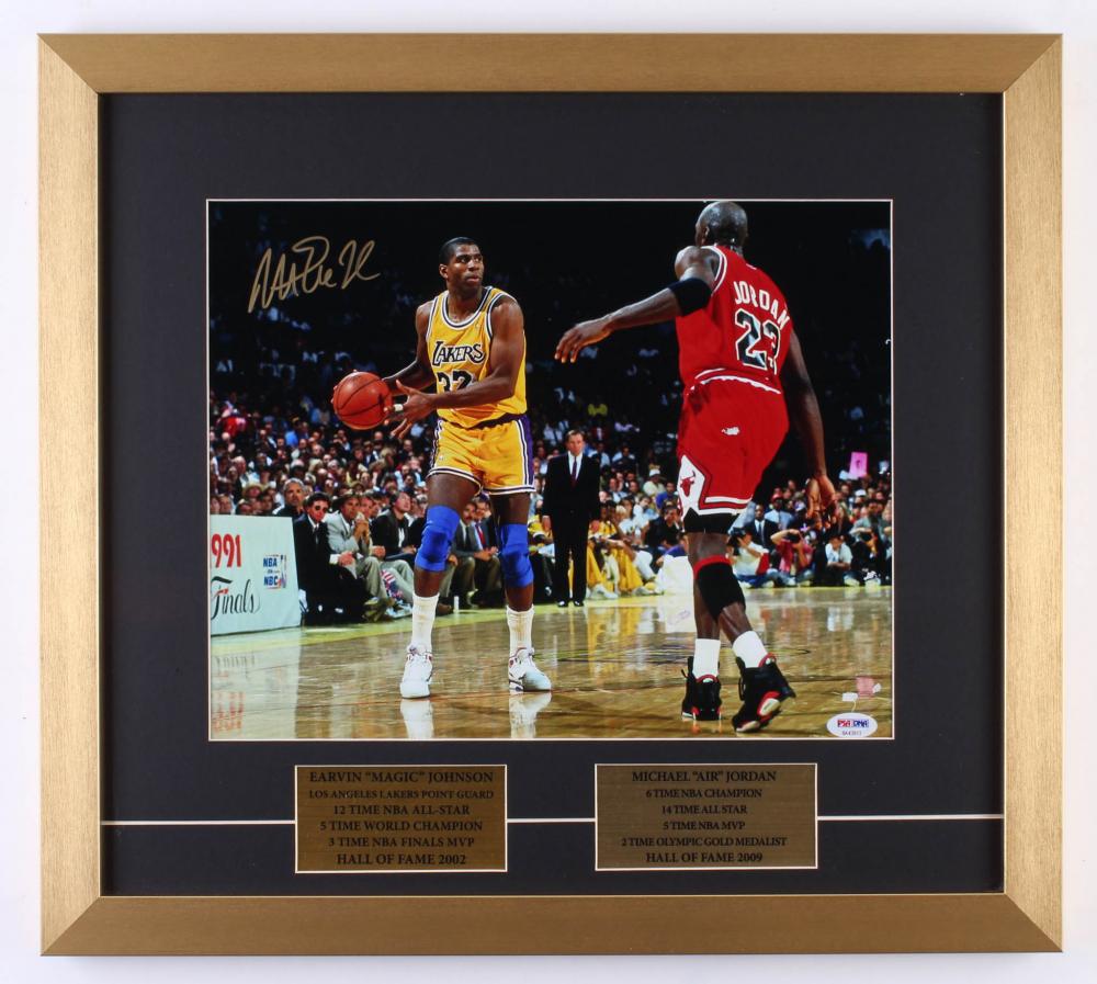 2228216b241 Magic Johnson Signed Los Angeles Lakers 18x20 Custom Framed Photo Display (PSA  COA) at
