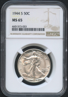 1944-S 50¢ Walking Liberty Silver Half-Dollar (NGC MS 65)