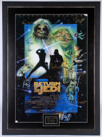 """Star Wars: Return of the Jedi Special Edition"" 33.5x45.5 Custom Framed Limited Edition Poster Singed by (7) with Carrie Fisher, Mark Hamill, Kenny Baker, Dave Prowse (JSA ALOA) at PristineAuction.com"