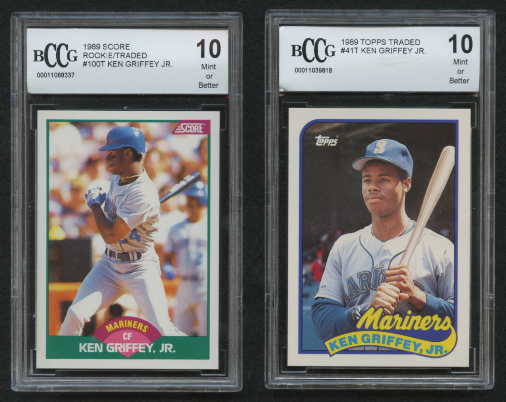 9f6b012a34 Lot of (2) Beckett BCCG Graded 10 Ken Griffey Jr. Baseball Cards with 1989  Score Rookie / Traded #100T RC & 1989 Fleer #548 RC