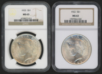 Lot of (2) NGC Graded MS 63 1922-23 Peace Silver Dollars