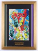 "Leroy Neiman ""Larry Bird vs Magic Johnson"" 14x19 Custom Framed Print Display"
