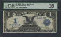 """1899 $1 One Dollar """"Black Eagle"""" Silver Certificate Large Size Bank Note (PMG 25)"""