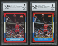 Lot of (2) Beckett BCCG Graded 9 Michael Jordan Trading Cards with 1996-97 Ultra Decade of Excellence #U4 & 1996-97 Fleer Decade of Excellence #4