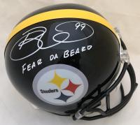 """Brett Keisel Signed Steelers Full-Size Helmet Inscribed """"Fear Da Beard"""" (TSE COA)"""