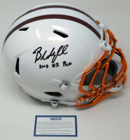 "Baker Mayfield Signed LE Cleveland Browns Custom White Full-Size Authentic On-Field Speed Helmet Inscribed ""2018 #1 Pick"" (Steiner COA)"