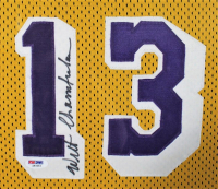 Wilt Chamberlain Signed 43x53 Custom Framed Jersey (PSA Hologram) at PristineAuction.com