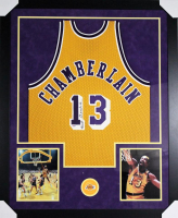 Wilt Chamberlain Signed Los Angeles Lakers 43x53 Custom Framed Jersey (PSA Hologram)