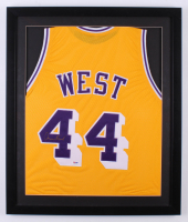 Jerry West Signed Los Angeles Lakers 22x26 Custom Framed Jersey (PSA COA)