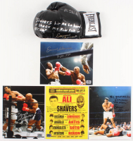 Lot of (5) Earnie Shavers Signed Items with (4) 8x10 Photos & (1) Everlast Boxing Glove with Muhammad Ali Inscriptions (Shavers Hologram & PSA COA)