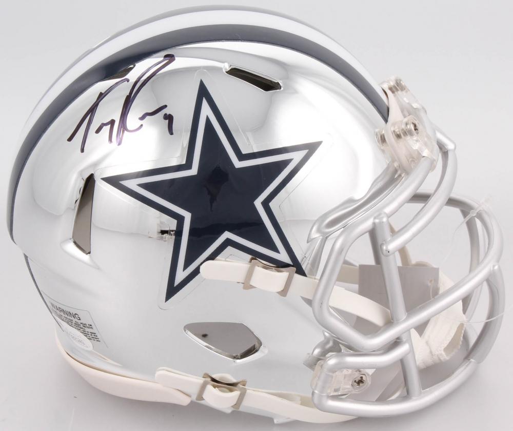 80d6a49d4c4 Tony Romo Signed Dallas Cowboys Chrome Speed Mini Helmet (JSA COA)