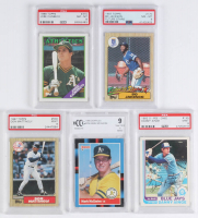 Lot of (5) Graded Baseball Cards with 1982 O-Pee-Chee #125 Danny Ainge (PSA 9), 1988 Donruss #256 Mark McGwire (BCCG 9), 1987 Topps #170 Bo Jackson RC (PSA 8), 1987 Topps #500 Don Mattingly (PSA 9) & 1988 Topps #370 Jose Canseco (PSA 8) at PristineAuction.com