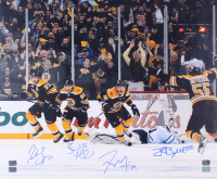 "Boston Bruins ""The Comeback"" 20x24 Photo Signed by (4) with Patrice Bergeron, Brad Marchand, Tyler Seguin, & Johnny Boychuk (Bergeron, Marchand, Seguin, & Boychuk Holograms)"