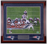 Tom Brady Signed New England Patriots Super Bowl XXIX 24.75x26.75 Custom Framed Photo with Patches (TriStar COA)