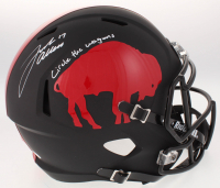 "Josh Allen Signed Buffalo Bills Throwback Full-Size Custom Matte Black Speed Helmet Inscribed ""Circle the Wagons"" (JSA COA)"