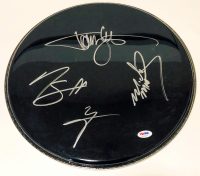 """""""Motley Crue"""" Drumhead Signed by (4) with Tommy Lee, Vince Neil, Mick Mars & Nikki Sixx (PSA LOA)"""
