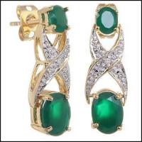5.18 CT Green Agate & Diamond Elegant Earrings