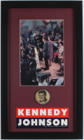 John F. Kennedy 13x22 Custom Framed Photo Display with Vintage Campaign Bumper Sticker & Pin