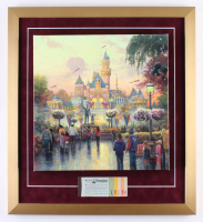 "Thomas Kinkade 50th Anniversary ""Disneyland"" 20x22 Custom Framed Canvas on Wood Display with Full Vintage Ticket Book"