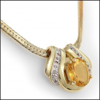 7.49 CT Citrine & Diamond Elegant Necklace