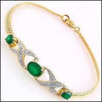 4.27 CT Green Agate & Diamond Designer Bracelet