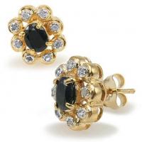 4.15 CT Black Sapphire & Diamond Elegant Designer Earrings