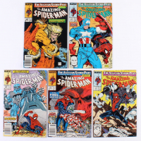 """Lot of (5) 1989 & 1990 """"The Amazing Spider-Man"""" Marvel Comic Books"""