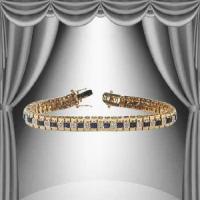 10.85 CT Black Sapphire & Diamond Designer Bracelet
