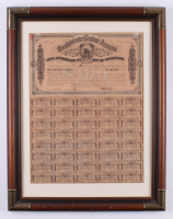 1864 $100 One Hundred-Dollar Confederate States of America Richmond CSA Bond with (40) Uncut $3 Coupons 21.5x27.25 Custom Framed Display at PristineAuction.com