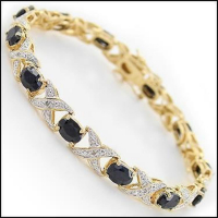 12.45 CT Black Sapphire & Diamond Designer Bracelet