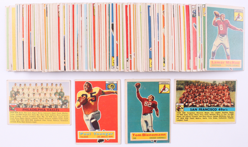 Complete Set of (120) 1956 Topps Football Cards with #18 Paul Younger, #10 Tom Bienemann, #26 San Francisco 49ers Team Card, & #40 Philadelphia Eagles Team Card at PristineAuction.com