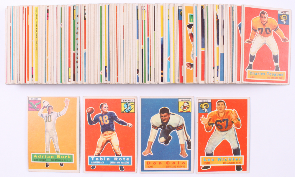 Complete Set of (120) 1956 Topps Football Cards with #30 Les Richter, #52 Adrian Burk, #55 Tobin Rote, & #57 Don Colo at PristineAuction.com