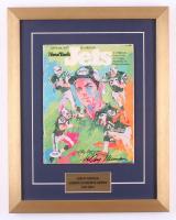 LeRoy Neiman Signed 1977 Jets Yearbook 15x19 Custom Framed Display (PSA COA)