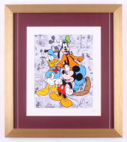 "Walt Disney's ""Mickey Mouse, Goofy & Donald Duck"" 16x18 Custom Framed Hand-Painted Animation Serigraph Display"