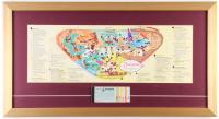 Disneyland 15.5x28.5 Custom Framed Vintage Map Display with Vintage Ticket Booklet