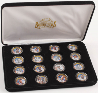 Baseball Legends Set of (16) 24KT Gold Plated & Colorized State Quarters with Babe Ruth, Ted Williams, Jackie Robinson, Ty Cobb, Lou Gehrig