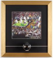 Willie Mosconi Signed 14x15.5 Custom Framed LeRoy Neiman #8 Ball Display (PSA COA)