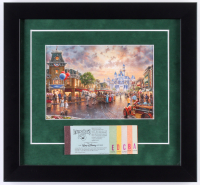 Thomas Kinkade Disneyland 13x14 Custom Framed Print with Vintage Ticket Booklet