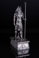 13 oz Antique Finish Anubis Silver Statue (New, Box + CoA)