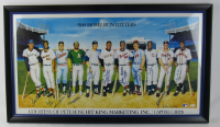 500 Home Run Club 20x38 Custom Framed Lithograph Signed by (11) with Ted Williams, Mickey Mantle, Eddie Mathews (JSA Hologram)
