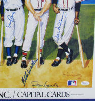 500 Home Run Club 20x38 Custom Framed Lithograph Signed by (11) with Ted Williams, Mickey Mantle, Eddie Mathews (JSA Hologram) at PristineAuction.com