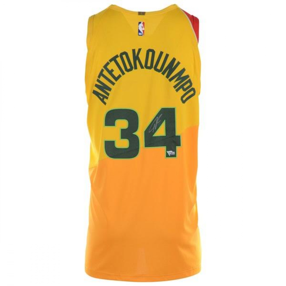 aec545d18ed Giannis Antetokounmpo Signed Milwaukee Bucks Yellow City Edition Authentic Nike  Jersey (Fanatics Hologram) at