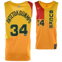 Giannis Antetokounmpo Signed Milwaukee Bucks Yellow City Edition Nike Jersey (Fanatics Hologram) at PristineAuction.com