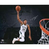 "Giannis Antetokounmpo Signed Milwaukee Bucks ""Dunking Spotlight"" 16x20 Photo (Fanatics Hologram) at PristineAuction.com"