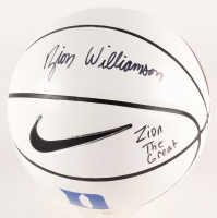 "Zion Williamson Signed Duke Blue Devils Logo Nike Basketball Inscribed ""Zion The Great"" (PSA COA) at PristineAuction.com"