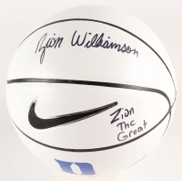 "Zion Williamson Signed Duke Blue Devils Logo Nike Basketball Inscribed ""Zion The Great"" (PSA COA)"