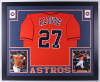 Jose Altuve Signed Houston Astros 35x43 Custom Framed Jersey (JSA COA)