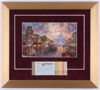 Thomas Kinkade Disneyland 13x14.5 Custom Framed Print with Vintage Ticket Booklet